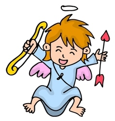 Happy little cupid cartoon vector