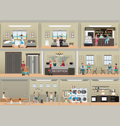 hotel interior set with reception vector image
