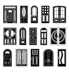House doors black design collection vector