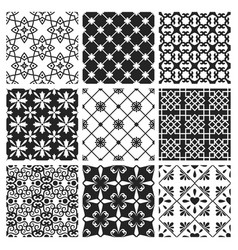 Interior moroccan design black ceramic set vector
