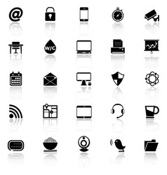 Internet cafe icons with reflect on white vector image vector image