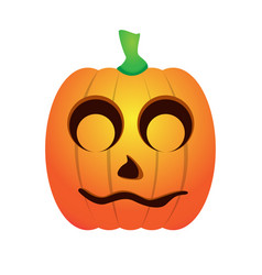 Isolated shy jack-o-lantern vector