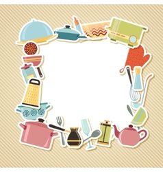 Kitchen utensils appliances and cookware on vector