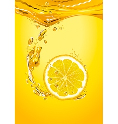 Lemon slice with bubbles vector