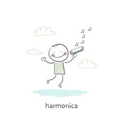 Man plays the harmonica vector