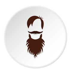 Men hairstyle with beard and mustache icon circle vector