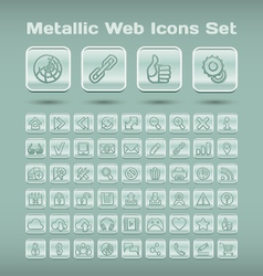 Metallic web icons set vector image vector image