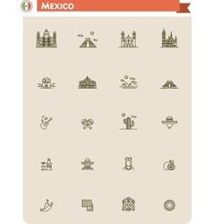 Mexico travel icon set vector