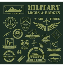 Military and armored vehicles logos and badges vector image