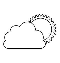monochrome contour of cloud with sun vector image vector image