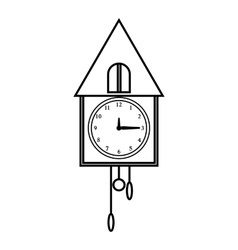 Old wall clock icon outline style vector