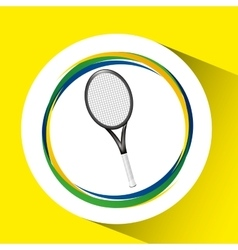 Racket tennis olympic games brazilian flag colors vector