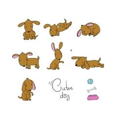 Set of cute cartoon dogs vector