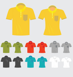 set of templates colored polo shirts for man and vector image