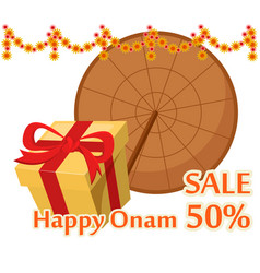 Umbrella of king mahabali and gift box happy onam vector