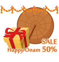 Umbrella of king mahabali and gift box happy onam vector