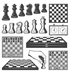 vintage chess game elements set vector image