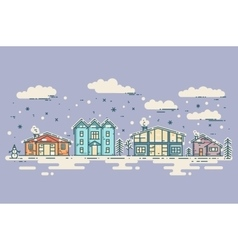 Winter cityscape vintage christmas card vector