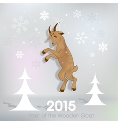 Wooden goat decoration on Christmas background vector image