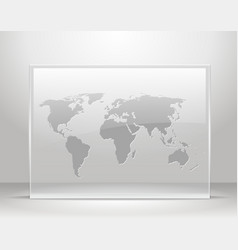 World map on glass frame vector image