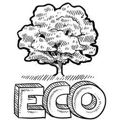 doodle eco tree vector image