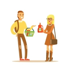 Young couple choosing product shopping in vector