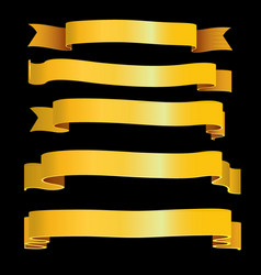 Gold ribbons collection vector