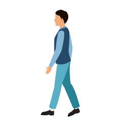 character man walking blue clothes vector image