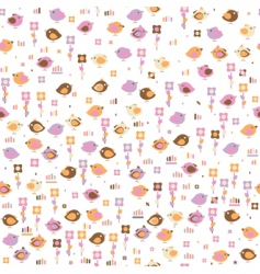seamless pattern of cute birds vector image