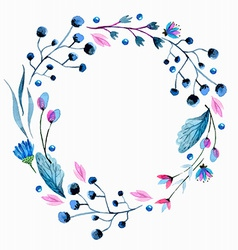 Watercolor flower wreath vector image