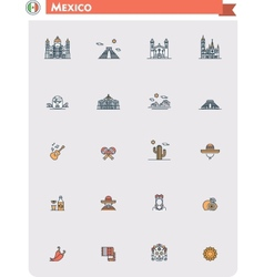 Mexico travel icon set vector