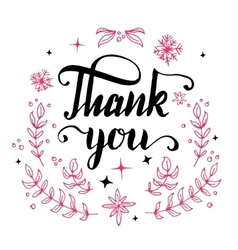 Thank you floral design calligraphy vector