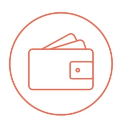 Wallet with money line icon vector