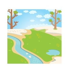 Natural green grass spring background with river vector