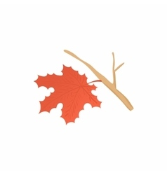 Maple leaf with branch icon cartoon style vector