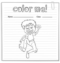 A worksheet showing a boy dancing vector