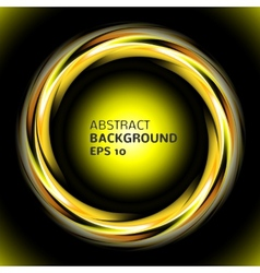Abstract light yellow swirl circle on black vector image