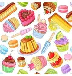 Assorted colorful desserts pastries sweets vector image