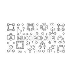 blockchain horizontal banner in thin line vector image vector image