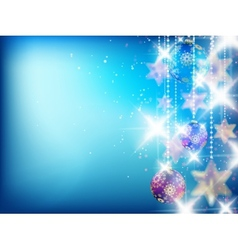 Blue Christmas Background with Christmas ornaments vector image