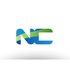 blue green nc n c alphabet letter logo vector image vector image