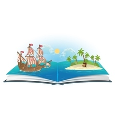 Book about ship and treasure island vector