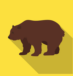 Canadian brown bear canada single icon in flat vector