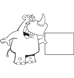 Cartoon Rhino with a Sign vector image vector image