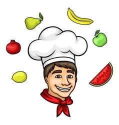 Cartoon young chef in toque with fresh fruits vector image