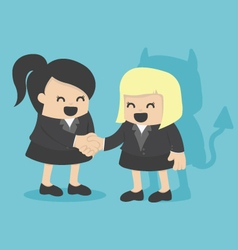 Cartoons concepts businesswoman shaking hand with vector