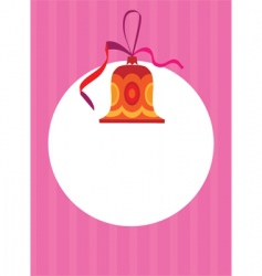 Christmas bell and card vector image vector image