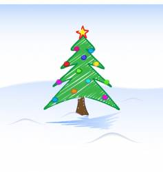 Christmas tree drawing vector image vector image