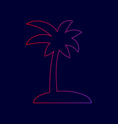 coconut palm tree sign line icon with vector image vector image