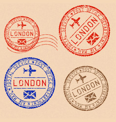 Collection of london postal stamps partially faded vector